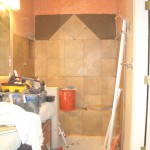 Starting row on-point in Kerdi shower in Fort Collins