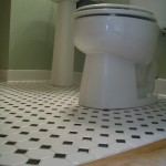 Octagonal mosaic tile floors with black dot