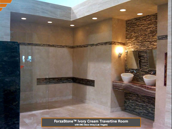 Ivory Cream Travertine ForzaStone Installation
