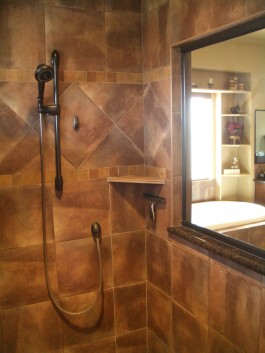 Shower corner shelf fabrication and installation in Fort Collins