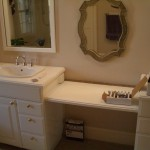 Glass tile vanity backsplash in Fort Collins