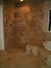 Travertine master bathroom remodel in Windsor, CO