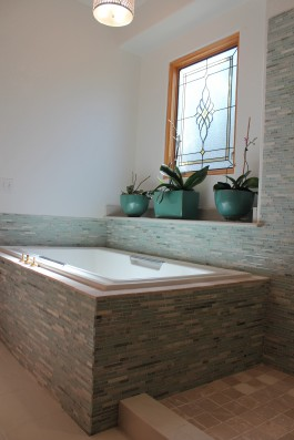 Glass and marble master bathroom in Windsor, Colorado