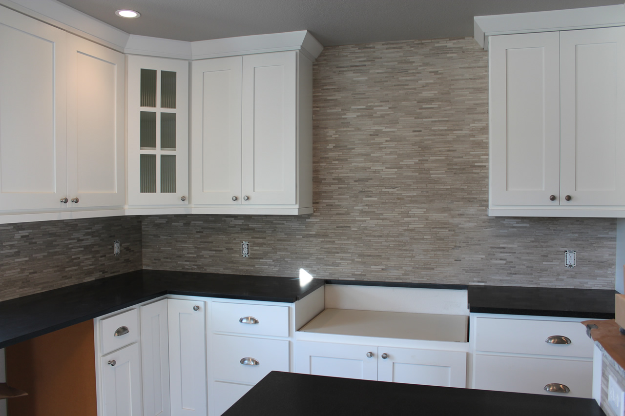 Limestone mosaic kitchen backsplash in Fort Collins | Tile ...